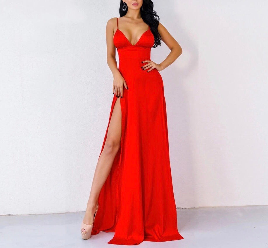 Red Elegant Evening High Split Dress - MSCOOCO