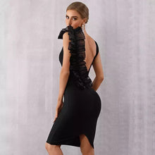 Load image into Gallery viewer, Bandage Mesh Backless Ruffle Dress - MSCOOCO