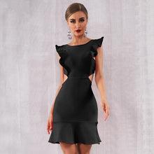 Load image into Gallery viewer, Black Bandage  Ruffles Mini Dress - MSCOOCO