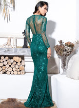 Load image into Gallery viewer, Green Round Neck Long Sleeve Glitter Dress - MSCOOCO