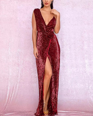 Sexy Deep V-Neck Split Sequins Gown