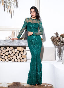 Green Round Neck Long Sleeve Glitter Dress - MSCOOCO