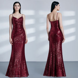 Soiree Burgundy Sequined Sparkle Gown - MSCOOCO