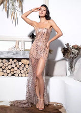 Load image into Gallery viewer, Gold Strapless Glitter Bodycon Maxi Dress - MSCOOCO