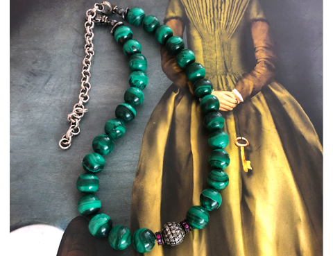 Malachite Choker with Diamonds and Rubies - Ocnarf Sairutsa