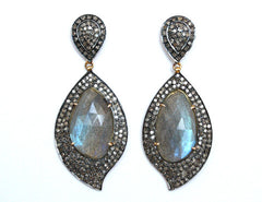 Ocnarf Sairutsa - Labradorite & Diamond Earrings