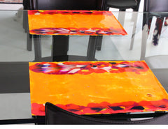 Bacio - Hand Painted Placemats  Orange - Set of 2
