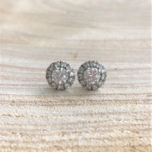 Load image into Gallery viewer, Halo Diamond Stud Earrings