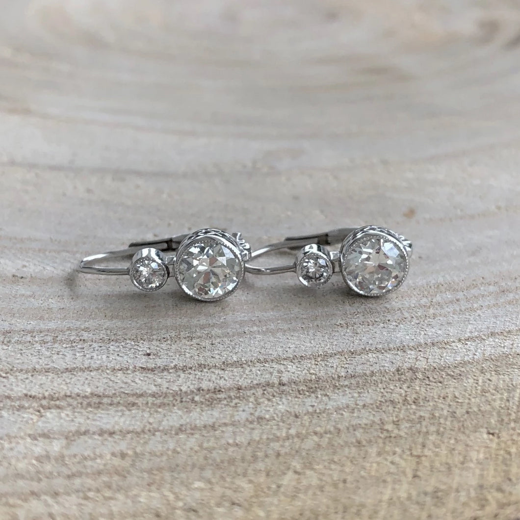 Vintage Style Double Drop Diamond Earrings