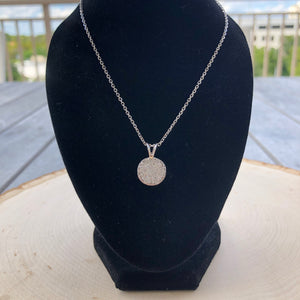 Pave Circle Diamond Pendant Necklace