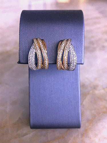 Tri-color diamond earrings