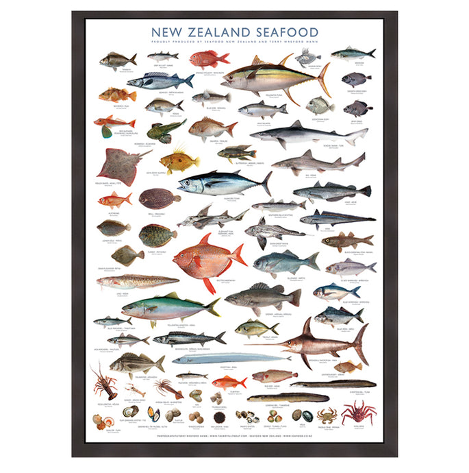 Framed Seafood Poster Special A1 size (841mm x 594mm)