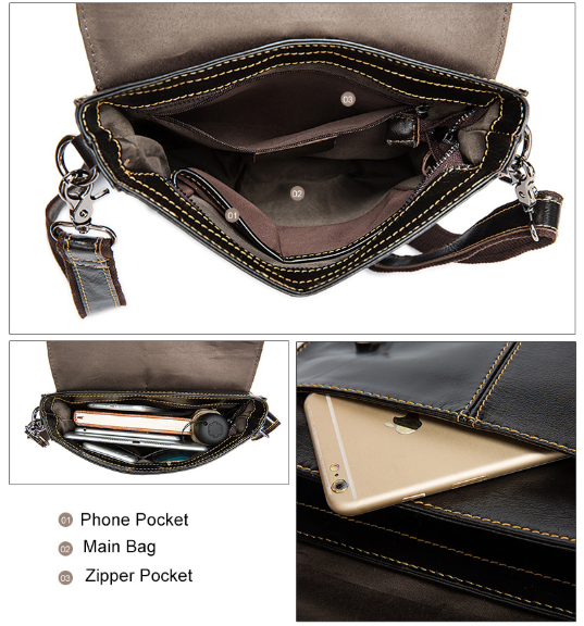 Leather Messenger Shoulder Bag - BeSmashing