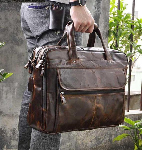 Antique Style Leather Laptop Bag - BeSmashing