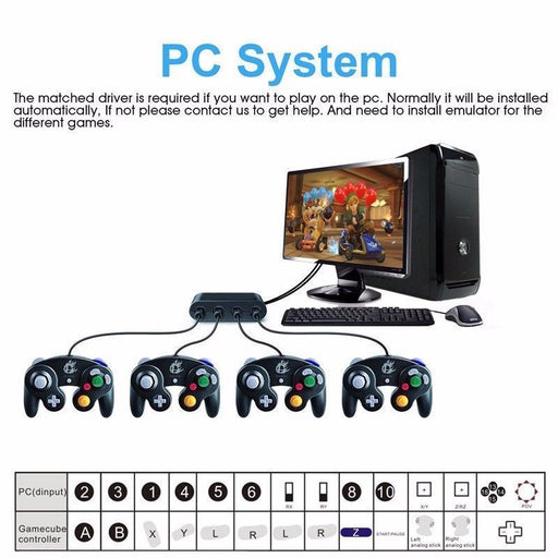 4 Port GameCube Gamepad Controller Adapter Konverter für Switch Wii U & PC USB