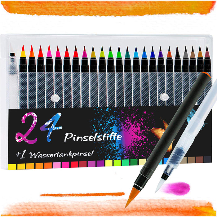 24+1 Pinselstifte Set Aquarell Farben Kalligraphie Hand-Lettering Bullet Journal
