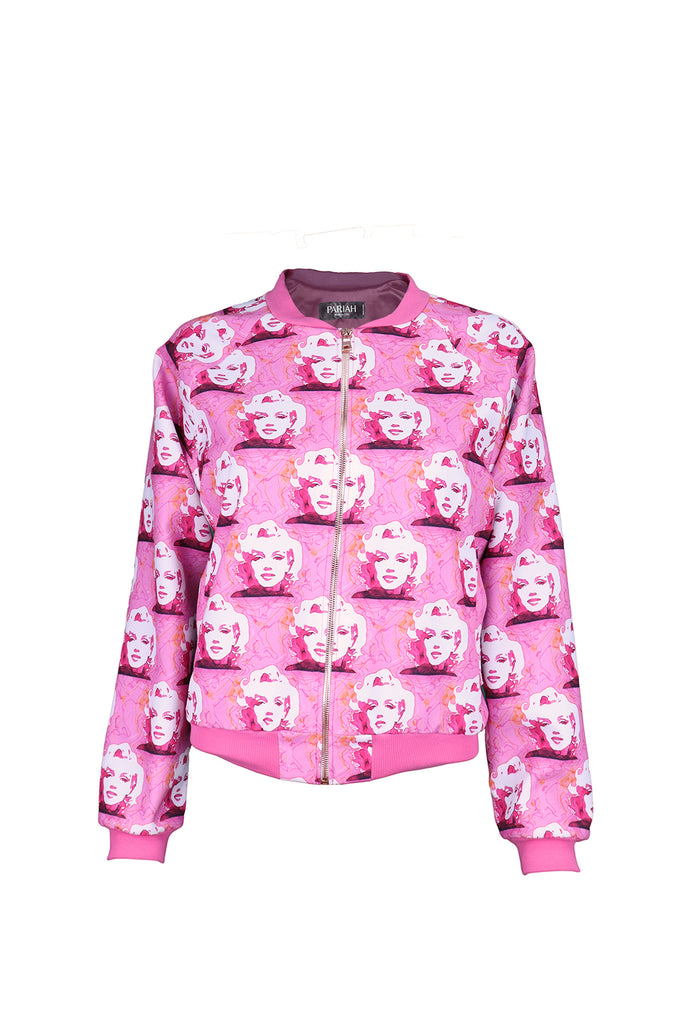 Front view of Pink Marilyn Bomber