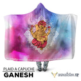animal totem Plaid à capuche Ganesh mantra aquarelle animal de force chamanisme nature vegan