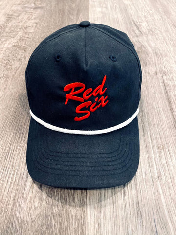 Red Six Script Vintage Hat