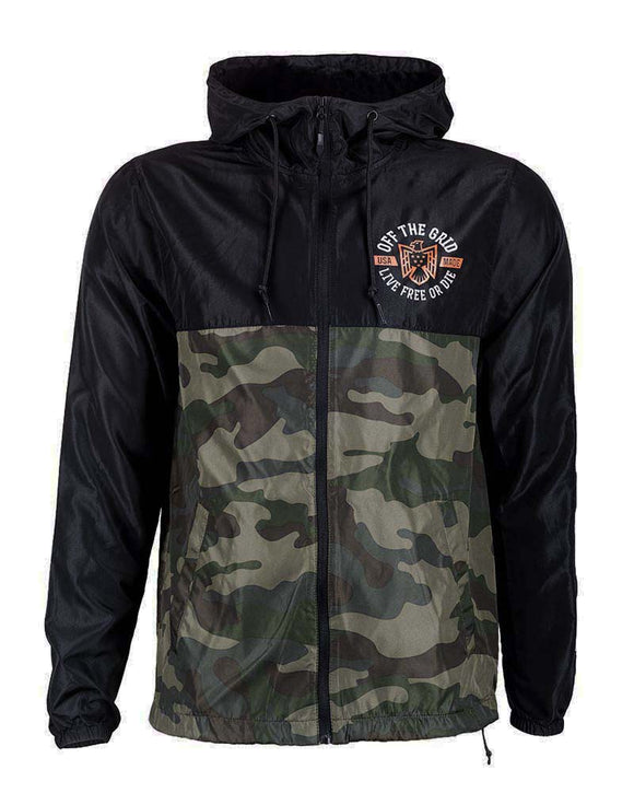 Off The Grid - Live Free or Die Windbreaker Zip Jacket w/ Hood – Camo/Black