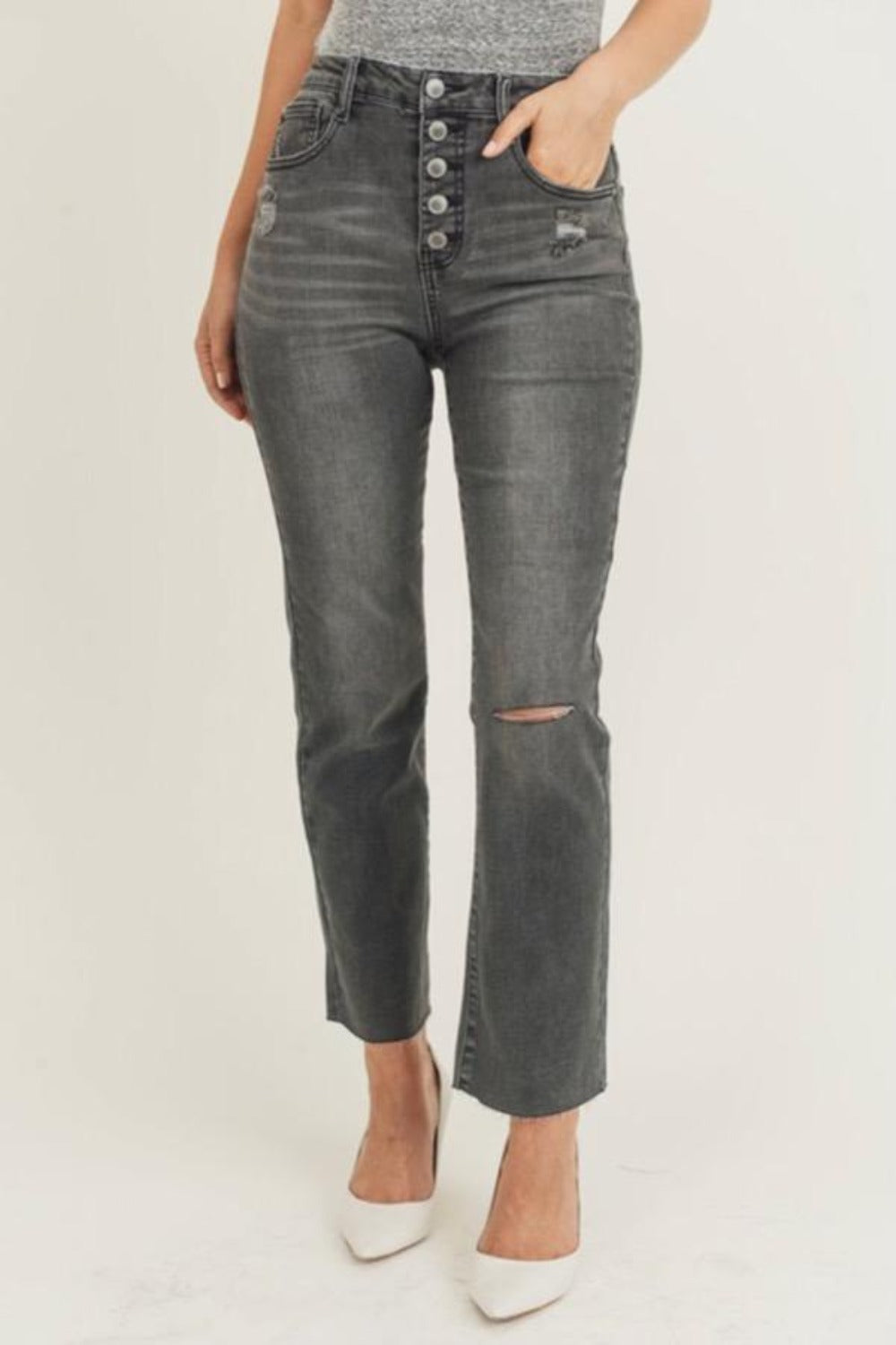 Gigi Cropped Flare Jeans - Grey