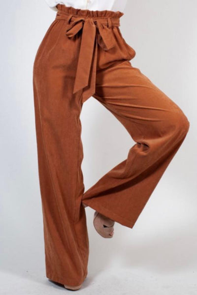Sasha Suede Paper Bag Pants - Chestnut