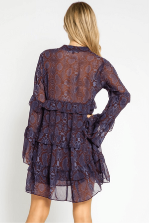 Snakeskin Mini Dress - Plum