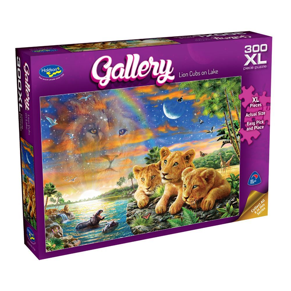 HOLDSON PUZZLE - GALLERY 6 300PC XL (LION CUBS ON LAKE)