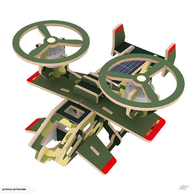 SOLAR POWERED DRONE WOODEN DIY 3D PUZZLE