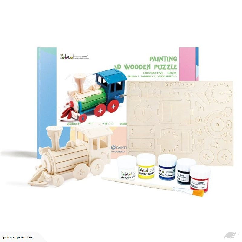 Robotime Painting 3D Wooden Puzzle - locomotive