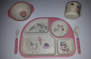 Eco 5 Piece Bamboo Plate Set - Unicorn