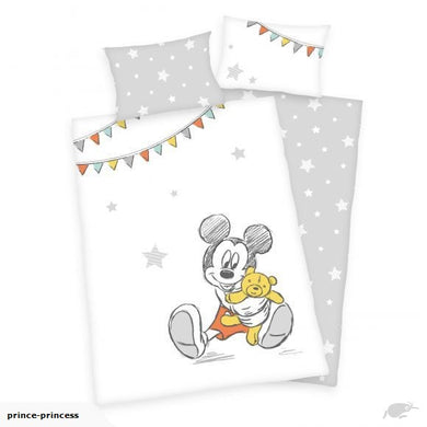 MICKEY MOUSE Cot Cotton Duvet Cover And Pillowcase