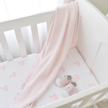 Load image into Gallery viewer, 2-PACK JERSEY BASSINET FITTED SHEETS - SWAN PRINCESS/PINK STRIPE