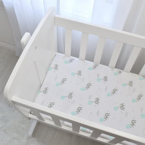 2-PACK JERSEY BASSINET FITTED SHEETS - DREAM BIG/AQUA STRIPE