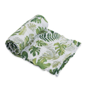 Single Cotton Muslin Swaddle - Tropical Leaf