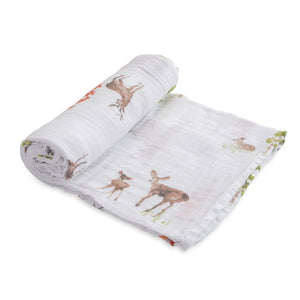 Single Cotton Muslin Swaddle - Oh Deer