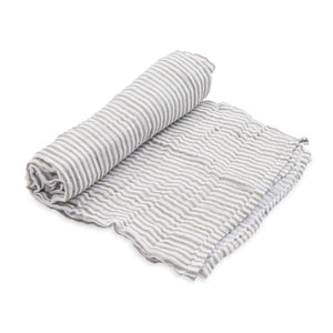 Single Cotton Muslin Swaddle - Grey Stripe