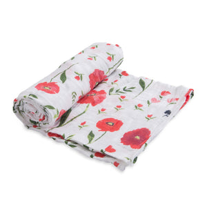 Single Cotton Muslin Swaddle - Summer Poppy