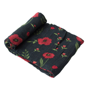 Single Cotton Muslin Swaddle - Dark Summer Poppy