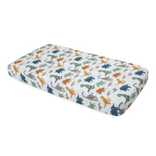 Load image into Gallery viewer, Cotton Muslin Cot Sheet - Dino Friends