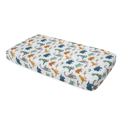 Cotton Muslin Cot Sheet - Dino Friends