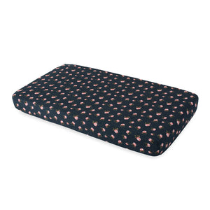 Cotton Muslin Cot Sheet - Midnight Rose