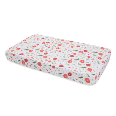Cotton Muslin Cot Sheet - Summer Poppy