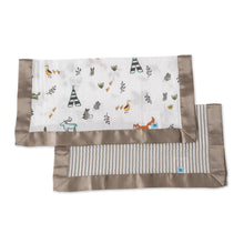 Load image into Gallery viewer, Muslin Security Blanket 2pk - Forest Friends + Stripe