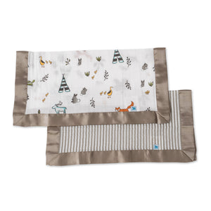 Muslin Security Blanket 2pk - Forest Friends + Stripe