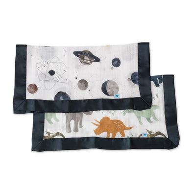 Muslin Security Blanket 2pk - Dino Friends & Planetary