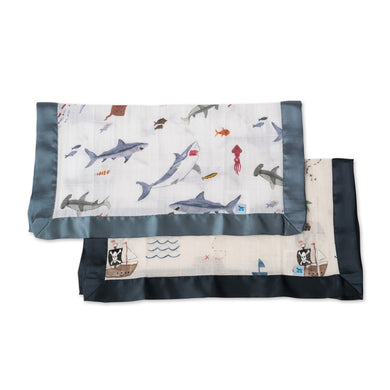 Muslin Security Blanket 2pk - Shark & Treasure Map