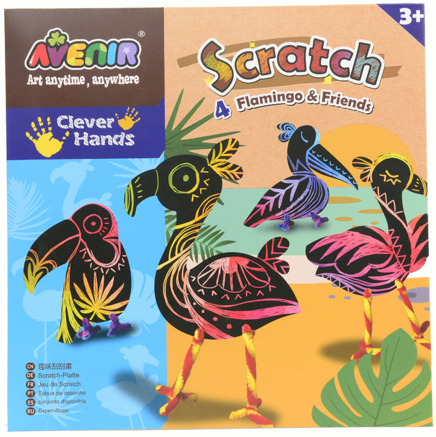 Avenir Scratch Art Kit - Flamingo & Friends