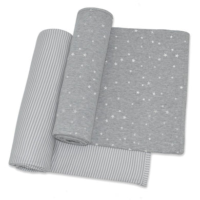 2-PACK JERSEY WRAPS - SILVER STARS/GREY STRIPE