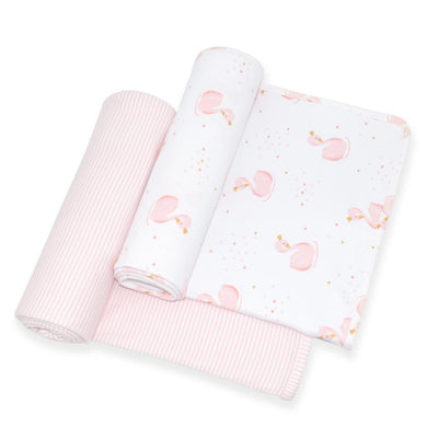 2-PACK JERSEY WRAPS - SWAN PRINCESS/PINK STRIPE
